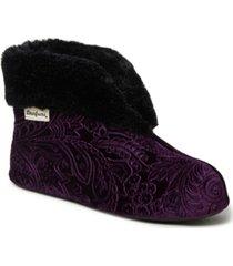 dearfoams women's embossed velour bootie slippers, online only