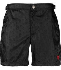 alexander mcqueen skull-print swim shorts - black
