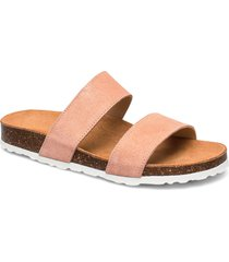twin strap slip in shoes summer shoes flat sandals rosa bianco