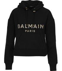 balmain crystal-embellished cropped hoodie