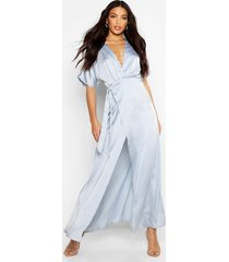 boutique kimono maxi satin bridesmaid dress, sky