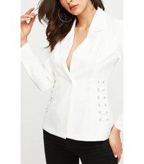 blazer de manga larga con cuello de muesca blanca yoins