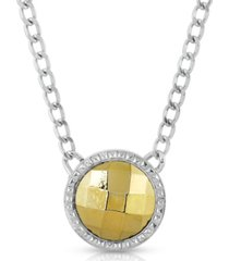 2028 silver-tone and gold-tone round pendant necklace