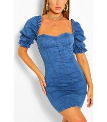 denim bodycon jurk met mouwfranjes, middenblauw