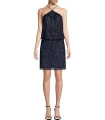 embellished halter blouson dress