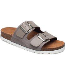 vmcarla leather sandal shoes summer shoes flat sandals grå vero moda