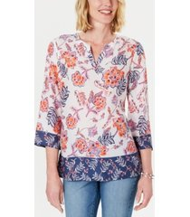 charter club petite double-floral printed tunic, created for macy's