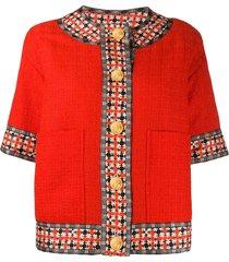 gucci square g trim tweed jacket - red