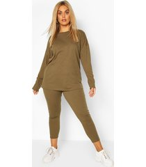 plus oversized rib top & legging co-ord, khaki