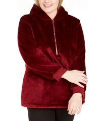 ideology plus size half-zip faux-fur hoodie, created for macy's