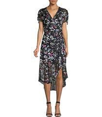 floral ruched short-sleeve midi dress