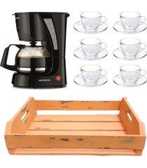 kit 1 cafeteira mondial 110v, 6 xícaras 240ml com pires e 1 bandeja em mdf laranja