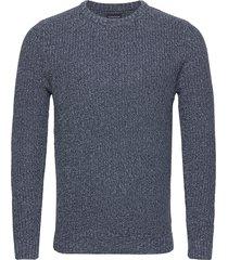 claude organic cotton twisted yarn sweater stickad tröja m. rund krage blå lexington clothing
