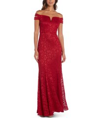 nightway lace off-the-shoulder gown
