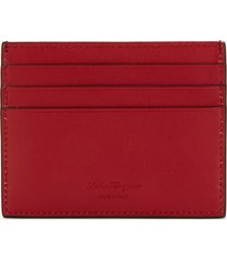 salvatore ferragamo men's gancini bicolour credit card holder - black/ferragamo red