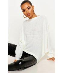 oversized rib knit batwing sweater, ivory