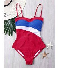 shelf bra paneled one-piece swimsuit