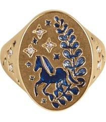 lucky brand gold-tone crystal glitter horse signet ring