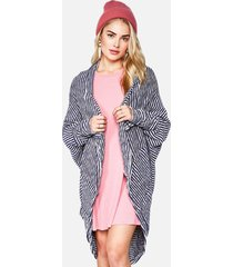 kai oversized cardigan - os creme blue stripe
