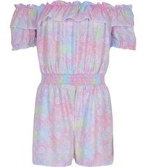 river island girls pink ri tie dye bardot playsuit