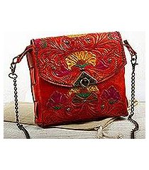 leather clutch or shoulder bag, 'golden blossoms' (mexico)