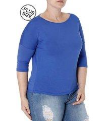 blusa autentique manga 3/4 plus size feminina