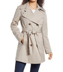 women's via spiga double breasted belted raincoat, size x-large - beige