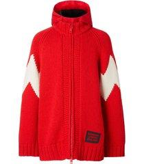 burberry cardigan com capuz removível - vermelho