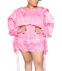 plus size women's zelie for she canyon ruffle long sleeve top, size 3x - pink (plus size) (nordstrom exclusive)