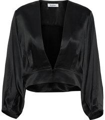 elm satin blouse lange mouwen zwart rodebjer