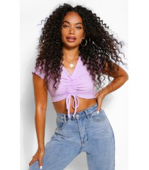 petite ribbed lettuce hem ruched front crop top, lilac