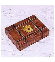 wood playing card holder, 'double delight' (india)