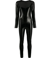 alchemy vinyl-effect fitted bodysuit - black