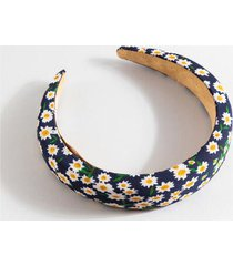 patricia puffy floral print headband - navy