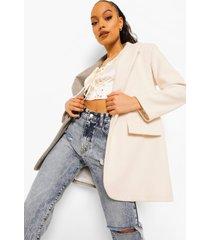 contrasterende monochrome nepwollen jas, stone