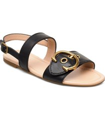 jen c buckle sandal- leather shoes summer shoes flat sandals svart coach