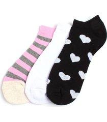 medias invisibles para mujer en color negro/rosado/blanco