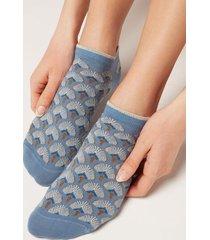 calzedonia patterned glitter no-show socks woman blue size tu