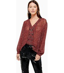 animal pleat button blouse - red