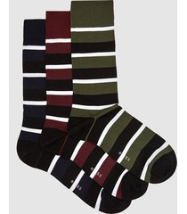 reiss alan - three pack striped socks in multi, mens