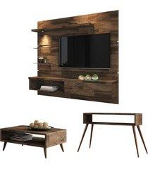 painel tv ores com mesa de centro lucy e aparador quad deck - hb móveis