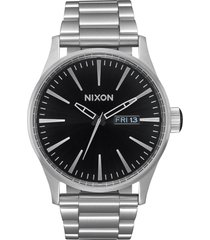 nixon sentry bracelet watch, 42mm in silver/black at nordstrom