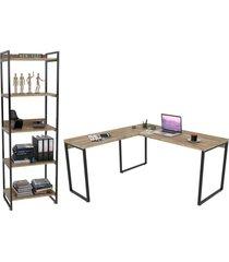 conjunto escritã³rio estilo industrial mesa 150x150cm e estante 60cm 5 prateleiras prisma carvalho - marrom - dafiti