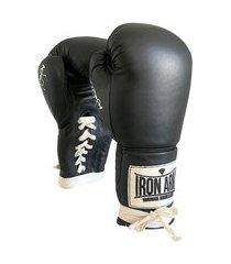 luva de boxe éder jofre black couro legítimo cadarço iron arm