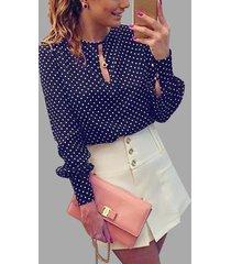 yoins basics blusas con mangas abullonadas recortadas de lunares azul oscuro
