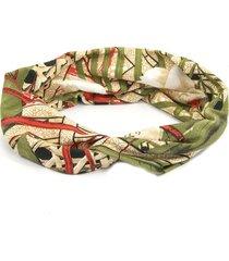 headband turbante bijoulux bege e verde - tricae