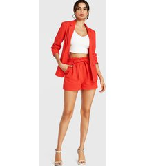 yoins orange paperbag waist self-tie design pockets shorts
