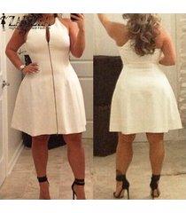 zanzea summer dress mujeres con cuello en v una línea de vestidos de fiesta casual sin mangas de gran tamaño midi dress plus size vestidos blanco -blanco