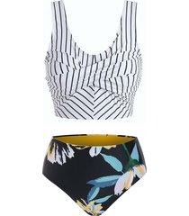 striped floral twist front tankini swimwear