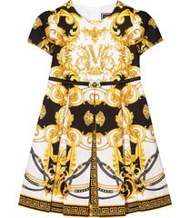 young versace white pleated and flared dress